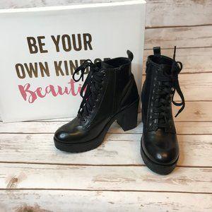 Steve Madden Mackelle Black Combat Boots